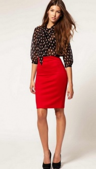 Red skirt, soft blouse