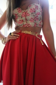 Maxi red skirt