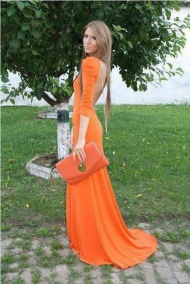 Long orange open back dress