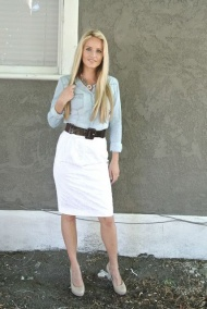 Chambray and white skirt.