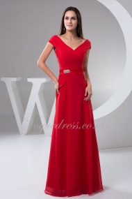 A Line V Neck Cap Sleeve Zipper Crystal Pleated Floor Length Red Chiffon Evening Dress