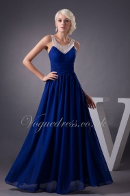 A Line Jewel Natural Waist Royal Blue Crystals Pleated Chiffon Evening Dress