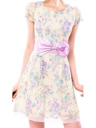 Elegant Light Yellow Floral Purple Bow Embellished Back V Neck Lace Dress