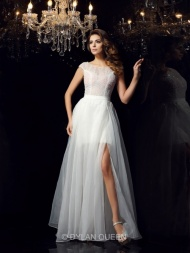A-Line/Princess Short Sleeves Scoop Tulle Floor-Length Beading Dresses