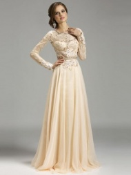 Noble A-Line/Princess Jewel Sweep/Brush Train Chiffon Evening Dress With Applique