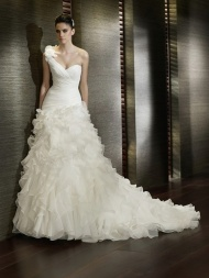 White wedding dress with ruffles