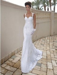 Long tail lace wedding dress