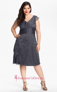 One Shoulder Tulle Tea Length Luscious Plus Size Bridesmaid Dress With Contoured