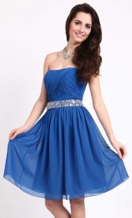 Buy adorable Blue Bridesmaid Dresses at VioletDress online. Pick up this unique Beaded Strapless A-Line Chiffon Bridesmaid Dress  £62.99