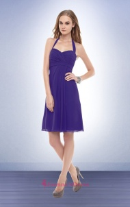 Purple Halter Empire Chiffon Knee Length Coast Dresses With Backless