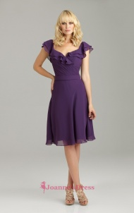 Purple Empire V Neck Backless Chiffon Knee Length Luxurious Bridesmaid Dress