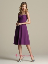 Purple Chifffon Sweetheart Pleats Knee Length Bridesmaids Dresses Under 100