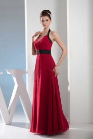 Violet-Halter A-Line Chiffon Red Long Prom Dress