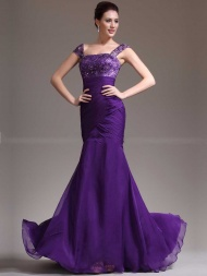 VioletDress-chiffon Lace Mermaid Long Prom Dress