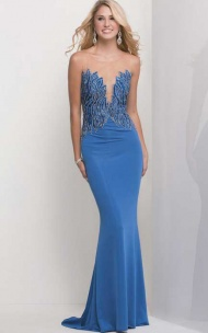 Applique Slim-line V-neck Floor-length Long Blue Prom Dresses supplied by VioletDress at £87.99  are the best choice for you