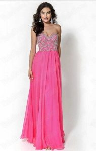 A-Line Strapless Beaded Long Chiffon Pink Prom Dresses supplied by VioletDress at £89.99 are the best choice for you