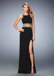 La Femme 22227 Sultry Gold Beaded Jersey Two Piece Prom Gown Sale