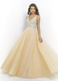 NEW Style Discount Champagne Long Open Back Blush 5427 Sparkly Ball Gown Dresses