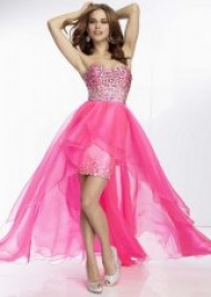 Hot Pink Beaded Corset Asymmetrical Layered Organza Party Dress