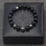 Cheap Chrome Hearts Silver Cross Ball Black Agate EXO Style Beads Bracelet for Men