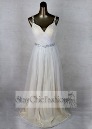 Staychicfashion White Long Pleated V Neck Sequined Waist Prom Dresses On Sale