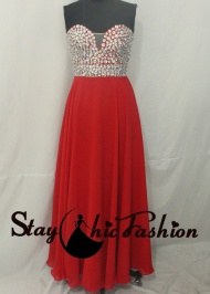 Staychicfashion 2015 Big Stones Beaded Top Strapless Red Long Prom Dress With Open Back