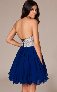 Sequined Royal Blue Chiffon Short Corset Back Party Dress