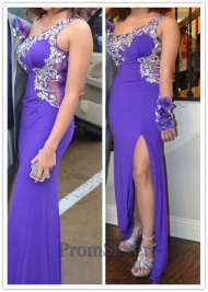 Purple Beaded Sheer One Shoulder Illusion Jersey Prom Dress