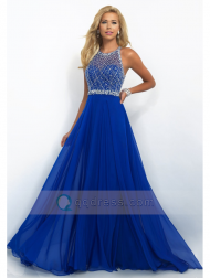 A-line Scoop Neck Floor-length Chiffon Prom Dress with Beaded