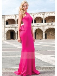Mermaid Halter Sweep Train Jersey Prom Dress With Ruffles Back Detail