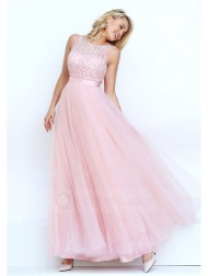 Princess Scoop Neck Floor-length Tulle Prom Dress with Beaded