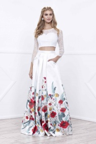 Long Sleeves Open Back Lace Bodice Floral Satin Skirt Two Piece White Prom Gown