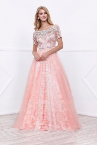 A-line Floor-length Short Sleeve Long Floral Lace and Tulle Pink Prom Gown
