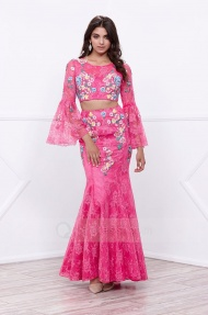 Mermaid Floor-length Long Bell Sleeves Fuchsia Floral Two Piece Long Prom Dress