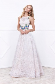 A-line Sleeveless Bateau Neck Ivory Illusion Floral Lace Long Prom Dress