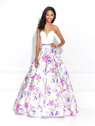 Gorgeous Strapless Beaded Waist White Satin Prom Gown with Pink and Purple Orchids