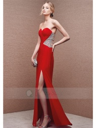 Sheath Sweetheart Floor-Length Chiffon Prom Dress with Pleated Beaded Split Front