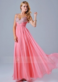A-line Sweetheart Spaghetti Straps Pleated Beaded Zipper Back Floor-Length Prom Dress